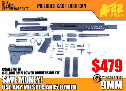 "SA9 'Stinger' Series 8"" 9mm Firearm Builder G-Block Conversion Kit with Zaviar Flash Can & Shockwave Blade Stock Kit 7"" Handguard (Glock & Colt Compatible)"