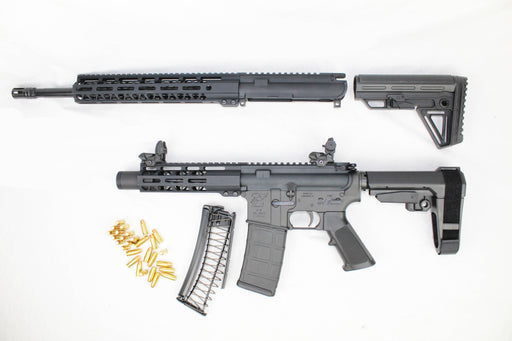"ZAVIAR 9mm STINGER SERIES TWIN GUN SET (PISTOL/CARBINE) 16"" & 5.5"" AR9 PAIRED WITH 5.56 LOWER + 9MM CONVERSION MAGAZINE (INCLUDES PMAG/ENDOMAG + FLIP UP SIGHTS)"