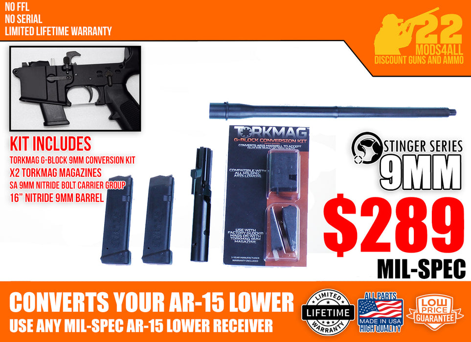"9mm 'Stinger' Series Basic Firearm Conversion Kit with SA 16"" Nitride Barrel"
