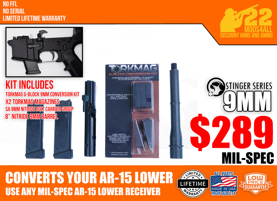 "9mm 'Stinger' Series Basic Firearm Conversion Kit with SA 8"" Nitride Barrel"