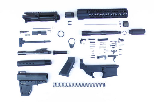 "SA8 'Venom' Series' 7.5"" 1:7 Nitride Barrel 80% Pistol Kit with KAK Brace & Zaviar Slimline Flash Can Kit 10"" M-LOK Handguard"