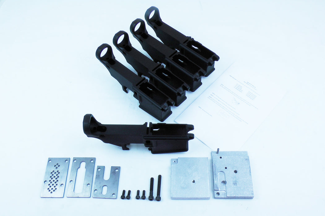 AR15 80% Lower Receiver BULK 5 PACK BLACK ANODIZED AND JIG KIT