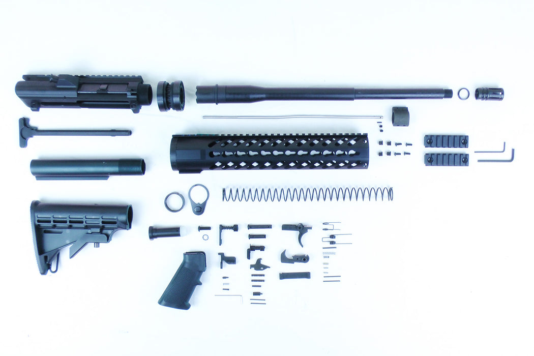 "AR10 .308 Winchester 16"" 1:10 Nitride Carbine Builder Kit with AR10 Stock Kit 12"" .308 KeyMod Handguard"