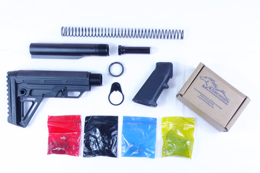 AR-15 Alpha Buttstock Lower Build Kit with Anderson Manufacturing Lower Parts Kit - .223/5.56 Black Trigger and Hammer