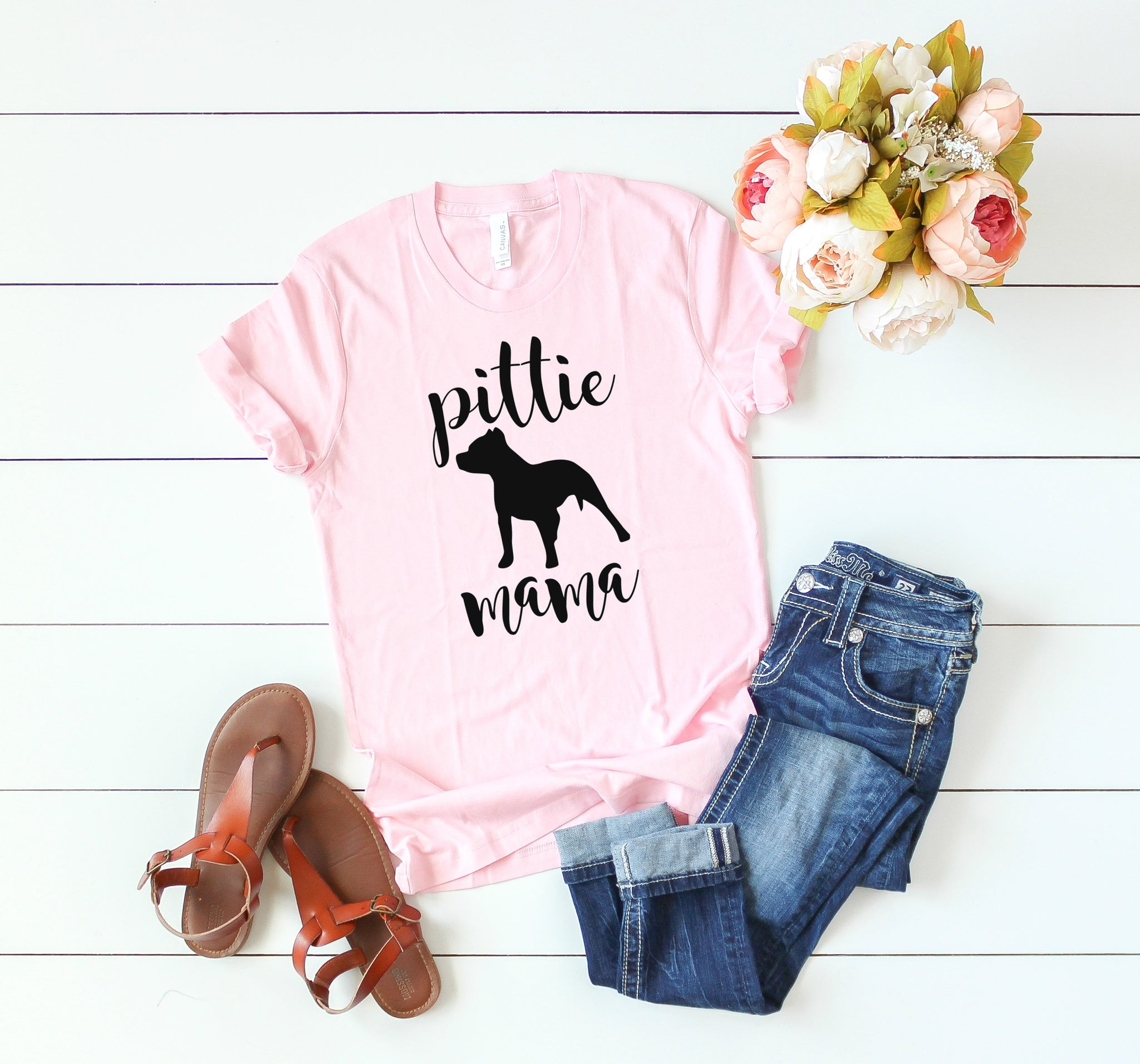Pittie Mama Tee, Pitbull Mama Tee, Pitbull Mom Tee, Pibull Shirt - Wooden Heart Designs