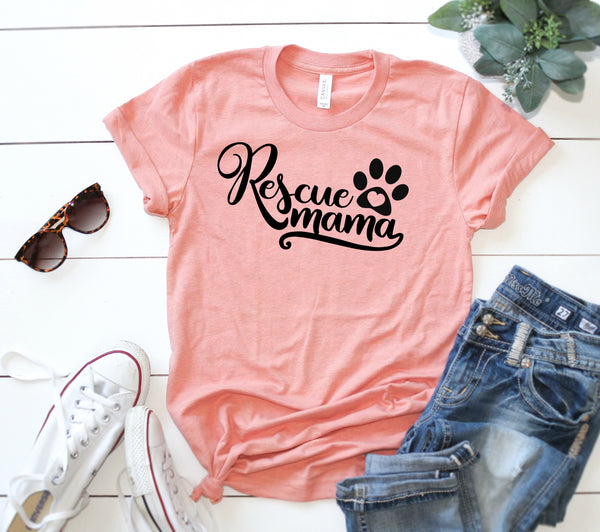 Rescue Mama Shirt, Rescue Mom Shirt, Dog Rescue Shirt, Rescue Shirt - Wooden Heart Designs