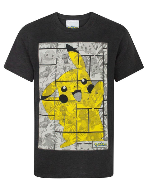 Pokemon Pikachu Grey Panels Boy's T-Shirt