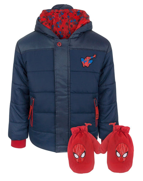 Spider-Man Boy's Navy Coat and Mittens Set