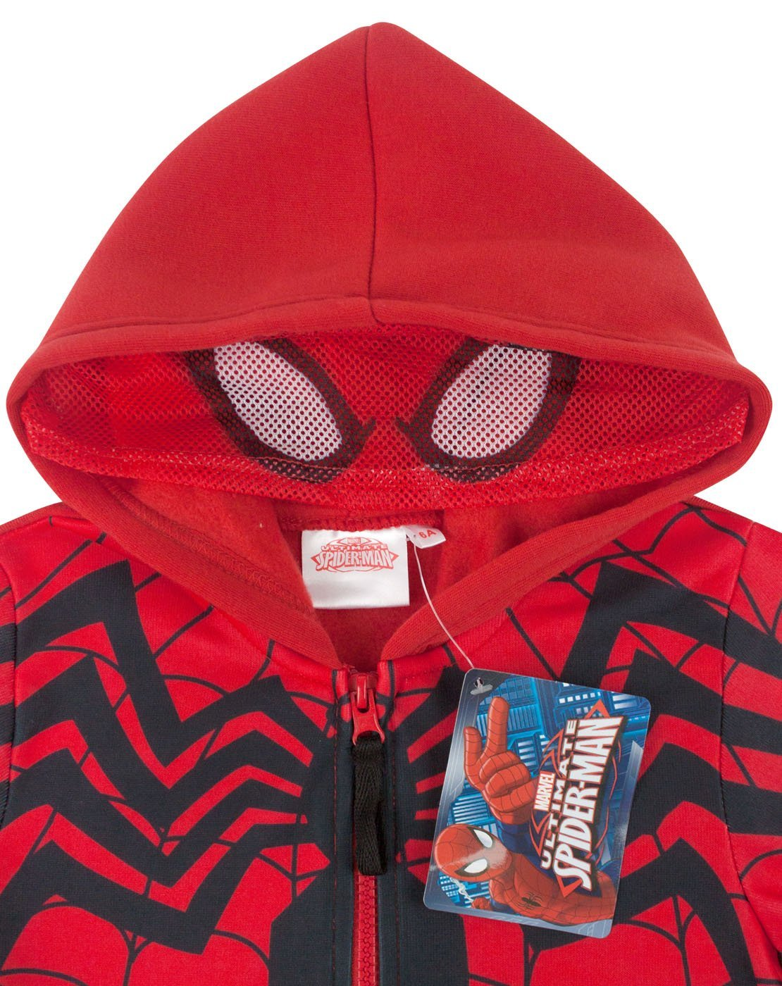 Spider-Man Boy's Zip Up Red And Black Costume Hoodie