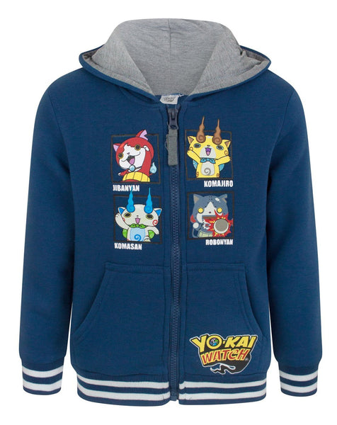 Yo-Kai Watch Characters Boy's Navy Zip Up Hoodie