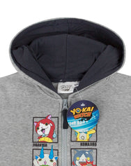 Yo-Kai Watch Characters Boy's Grey Zip Up Hoodie