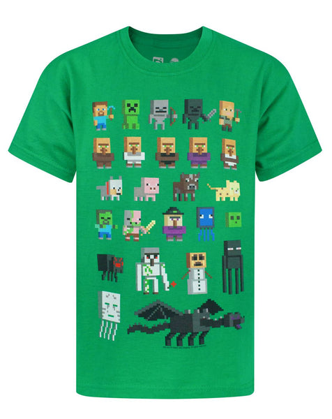 Minecraft Sprites Boy's Green T-Shirt