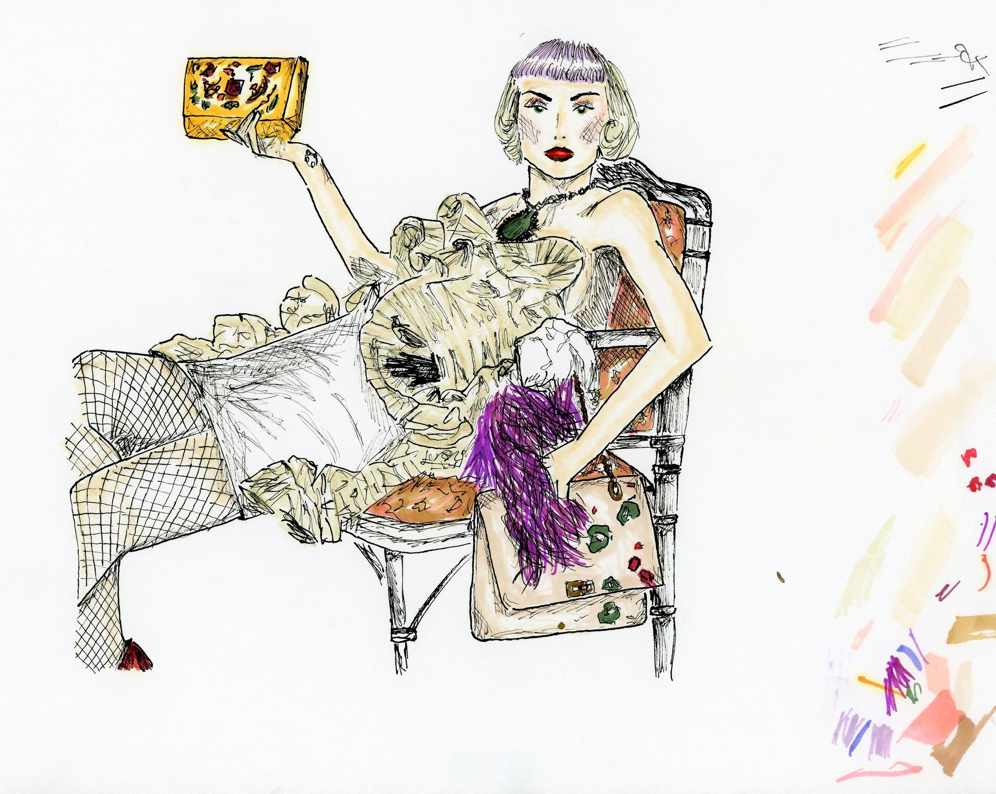 """Lanvin"" Original artwork by Pily Montiel. Art markers, archival ink and wax based pencils on 75 gsm cellulose fibre paper"