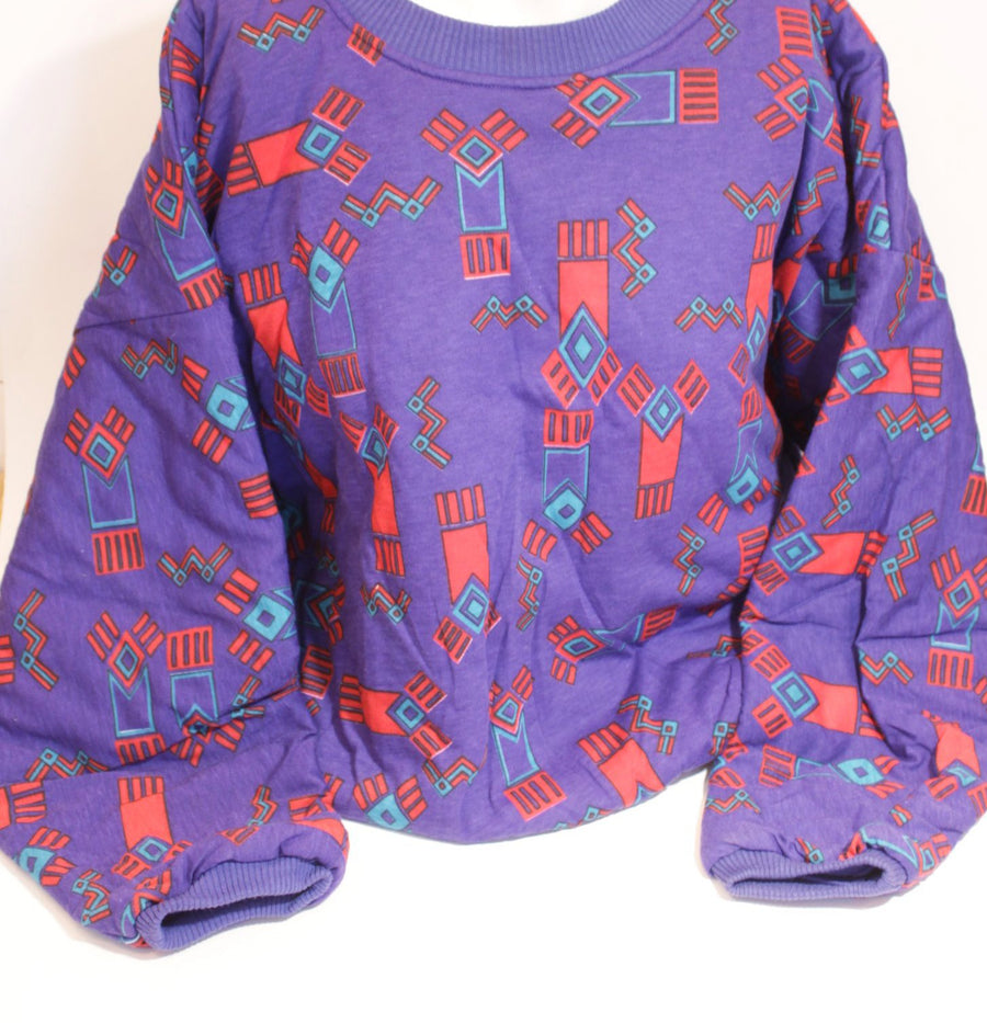 Vintage Purple & Red Geometric Sweatshirt