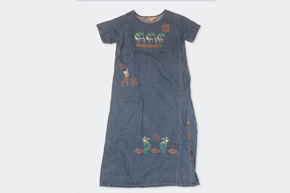 Vintage Kokopeli Hand-Painted Denim Dress