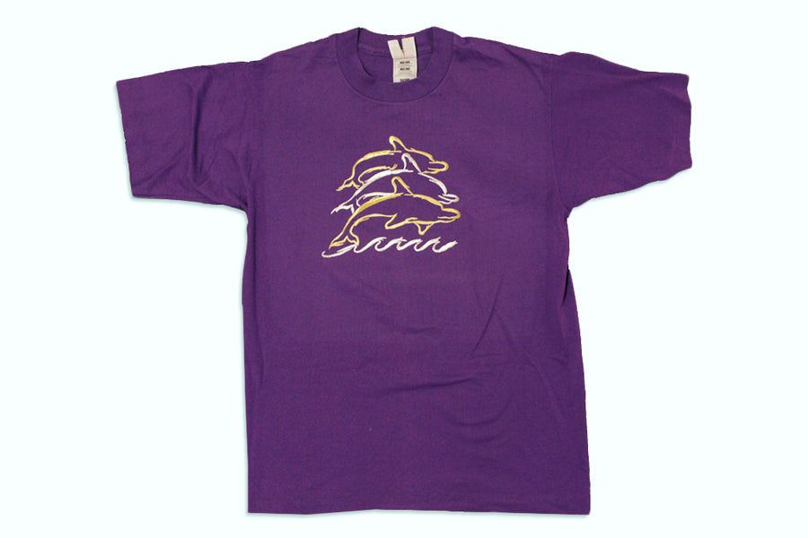 Vintage Embroidered Purple Dolphin T-Shirt