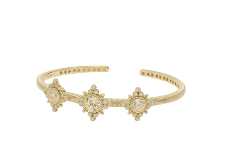 RIPKA Angelica Three Stone Cuff with Round Canary CZ & Bezel Set Diamond Accents