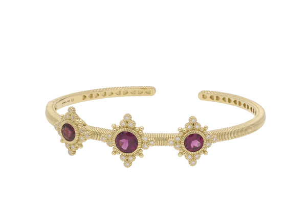 RIPKA Angelica Three Stone Cuff with Round Rhodolite & Bezel Set Diamond Accents
