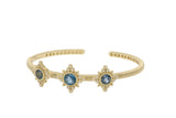 RIPKA Angelica Three Stone Cuff with Round London Blue Topaz & Bezel Set Diamond Accents