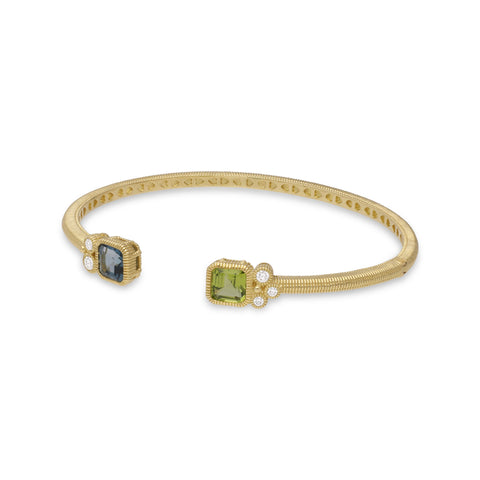 RIPKA Boca Double Cushion Shape Peridot & London Blue Topaz Cuff with Bezel Set Diamond Accents
