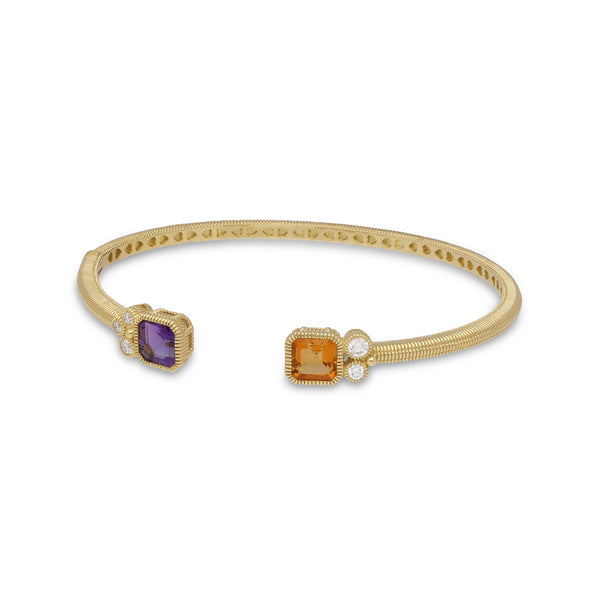 RIPKA Boca Double Cushion Shape Amethyst & Citrine Cuff with Bezel Set Diamond Accents