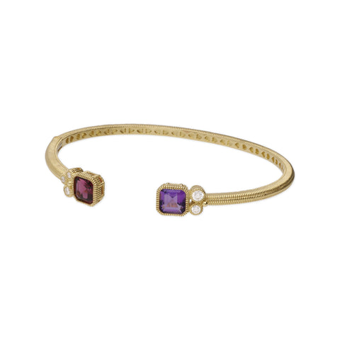 RIPKA Boca Double Cushion Shape Rhodolite & Amethyst Cuff with Bezel Set Diamond Accents