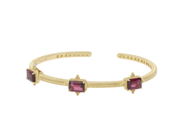 RIPKA Angelica Emerald Cut Rhodolite Three Stone Cuff