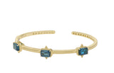 RIPKA Angelica Emerald Cut London Blue Topaz Three Stone Cuff