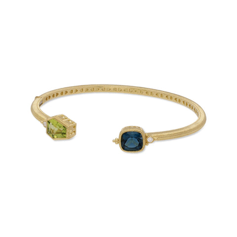 RIPKA Boca Kite Shape Peridot & Cushion Shape London Blue Topaz Cuff with Bezel Set Diamond Accents