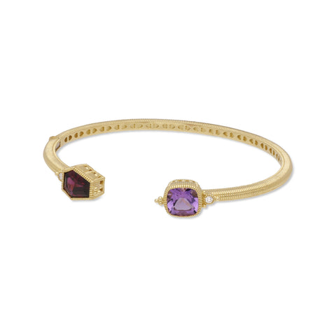 RIPKA Boca Kite Shape Rhodolite & Cushion Shape Amethyst Cuff with Bezel Set Diamond Accents