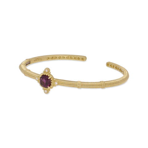 RIPKA Angelica Cushion Shape Rhodolite & Bezel Set Diamond Cuff