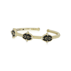 18K Oasis Black Onyx & Black Spinel Small Three Stone Cuff
