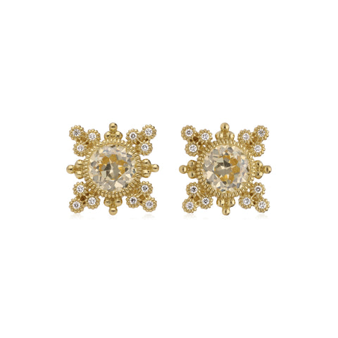 RIPKA Angelica Round Shape Canary Crystal & Bezel Set Diamond Earrings