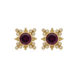 RIPKA Angelica Round Rhodolite & Bezel Set Diamond Earrings