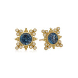 RIPKA Angelica London Blue Topaz & Bezel Set Diamond Earrings