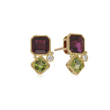 RIPKA Boca Double Cushion Shape Rhodolite & Peridot Earrings with Diamond Accents