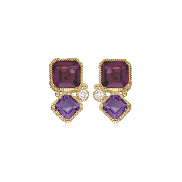 RIPKA Boca Double Cushion Shape Rhodolite & Amethyst Earrings with Diamond Accents
