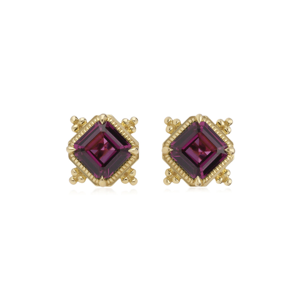 Angelica Step Cut Rhodolite Stud Earrings
