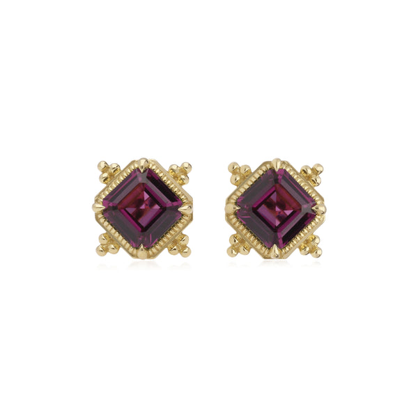 RIPKA Angelica Step Cut Rhodolite Stud Earrings