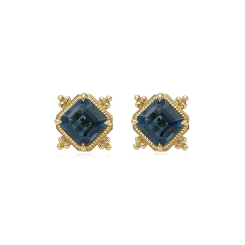 RIPKA Angelica Step Cut London Blue Topaz Stud Earrings