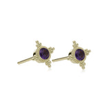RIPKA Juliette Bezel Set Amethyst Stud Earrings
