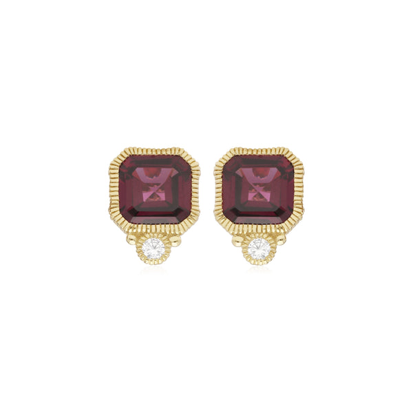 RIPKA Boca Cushion Shape Rhodolite Stud Earrings with Bezel Set Diamond Accents