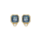 RIPKA Boca Cushion Shape London Blue Topaz Stud Earrings with Bezel Set Diamond Accents