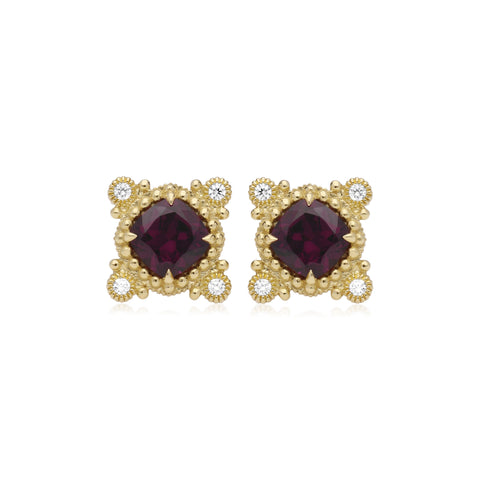 RIPKA Angelica Cushion Shape Rhodolite & Bezel Set Round Diamond Earrings