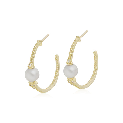 RIPKA Bella Pearl Center Hoop Earrings with Diamond Accents