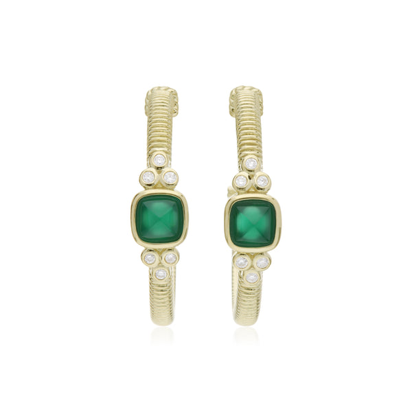 RIPKA La Petite Green Chalcedony Sugarloaf Stone Hoop Earrings with Diamond Accents