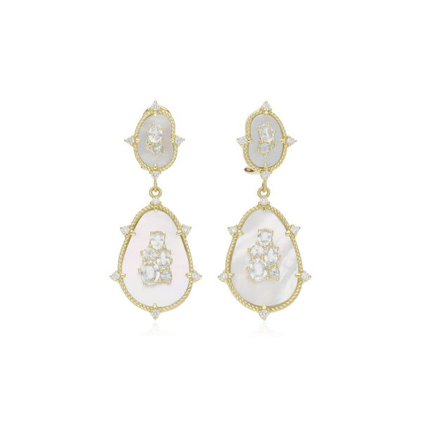 JUDITH RIPKA 18K LTD Oasis Mother of Pearl & White Sapphire Large Double Stone Drop Earrings with Diamond Accents