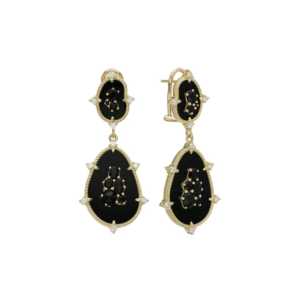 18K Oasis Black Onyx & Black Spinel Large Double Stone Drop Earrings with Diamond Accents
