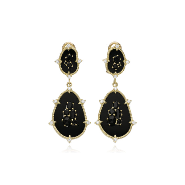 JUDITH RIPKA 18K LTD Oasis Black Onyx & Black Spinel Large Double Stone Drop Earrings with Diamond Accents