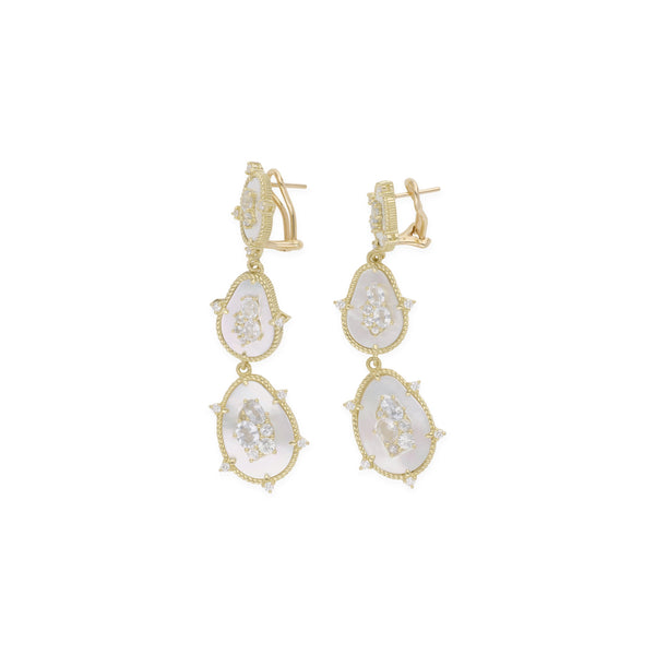 18K Oasis Mother of Pearl & White Sapphire Triple Stone Drop Earrings with Diamond Accents